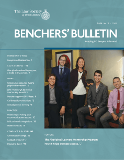 Benchers Bulletin, Fall 2014 - The Law Society of British Columbia