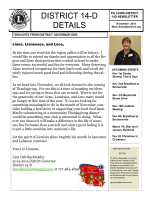 November 2014 Newsletter - Lions District 14-D