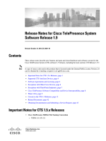 Release Notes for Cisco TelePresence System Software Release 1.9