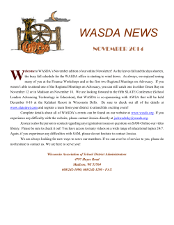 November 2014 Newsletter - Wisconsin Association of School