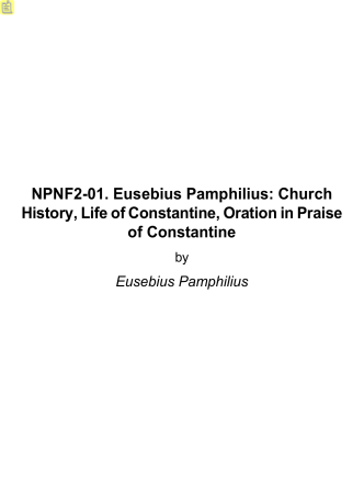 Church History, Life of Constantine, Oration in - HolyBooks.com