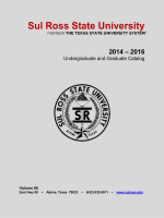 2014-2016 University Catalog - Sul Ross State University