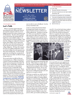 NEWSLETTER - Wisconsin Property Taxpayers