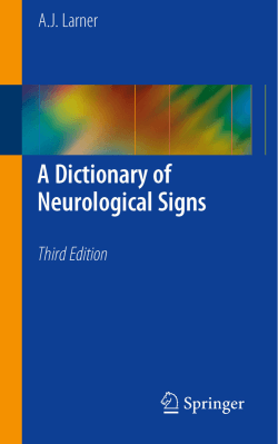 A Dictionary of Neurological Signs, Third Edition
