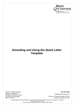 Amending and Using the Quick Letter Template - Hertfordshire Grid