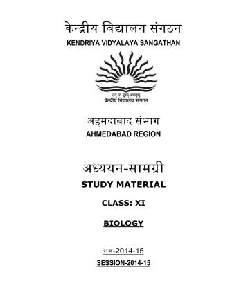 class xi - biology - Kendriya Vidyalaya No.2, EME - Baroda