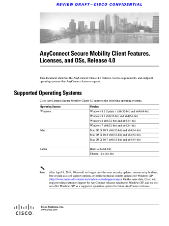 AnyConnect Secure Mobility Client Features, Licenses, and - Cisco