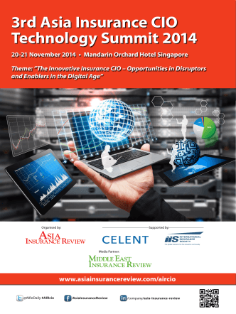 3rd Asia Insurance CIO Technology Summit 2014 20-21 November