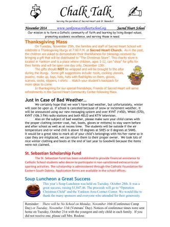 Chalk Talk - Yankton Sacred Heart School