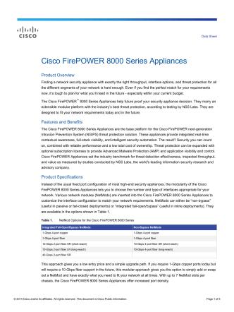 Cisco FirePOWER 8000 Series Appliances Data Sheet