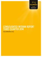 Consolidated inteRiM RePoRt thiRd QuaRteR 2014 - SolarWorld AG