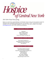 2013-2014 Fiscal Year Giving - Hospice of CNY