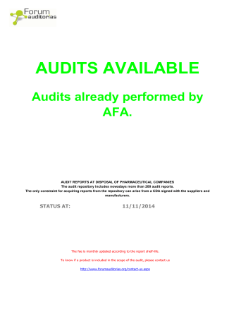 AFA Audits Database - Forum Auditorias