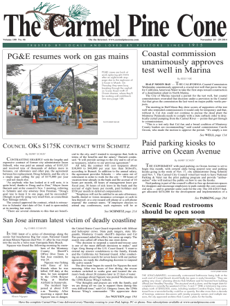 Carmel Pine Cone, November 14, 2014 (main news) - The Carmel