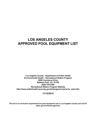 Approved Swimming Pool Equipment List - Department of Public