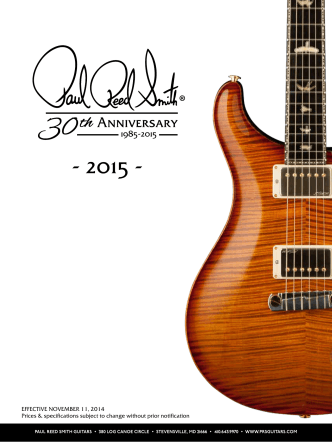 2015 Price List - PRS Guitars