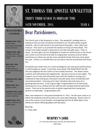 Church Newsletter - St Thomas the Apostle