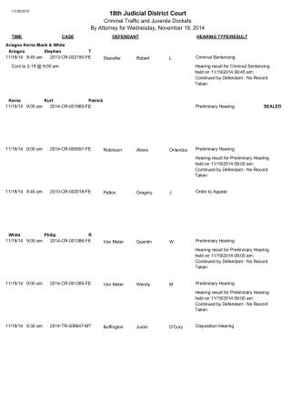 Daily Calendar by Att for CR - 18th Judicial District Court
