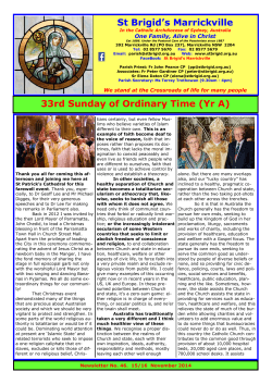 Weekend of 15th and 16th November - St. Brigids Parish