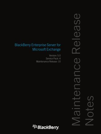 BlackBerry Enterprise Server for Microsoft Exchange-Maintenance