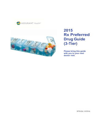 2015 AH 3 Tier Rx Preferred Drug Guide 30692 - Assurant Health