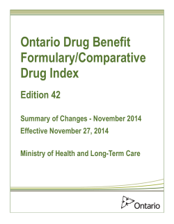 Edition 42: Summary of Changes – November 2014 - Ontario