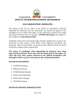 2014 graduation candidates - Kabarak University