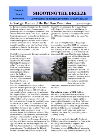BRMC Autumn 2014 Newsletter - Bull Run Mountains Conservancy