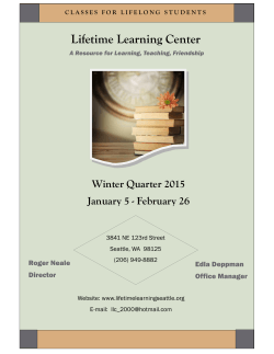 Winter Quarter 2015 Class Schedule - Lifetime Learning Center