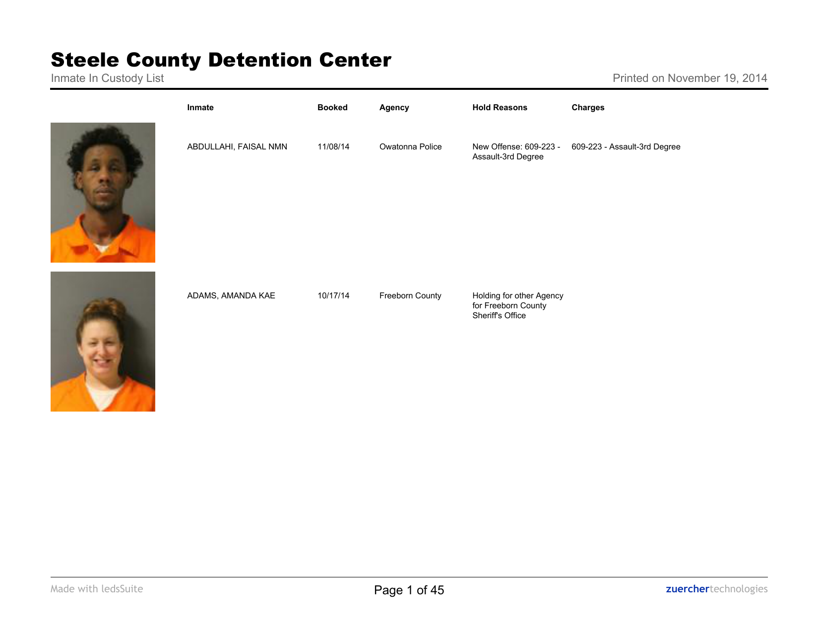 Current Jail Roster - Steele County Minnesota