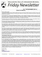 21st NOVEMBER 2014 - Goulburn Valley Grammar School