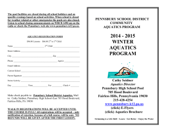 Aquatics Program Brochure - Winter, 2014-15 - Pennsbury School